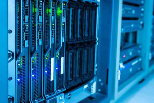Network servers in data room .
